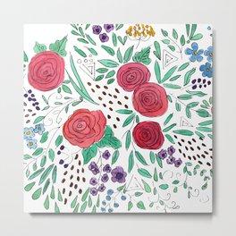 Flower meadow . Watercolor . Metal Print