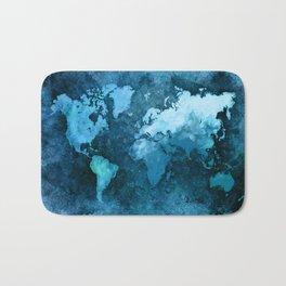 world map blue #map #world Bath Mat