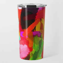 red orange blue green purple painting texture abstract background Travel Mug