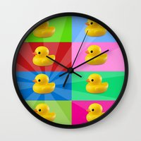 duck Wall Clocks featuring duck by mark ashkenazi