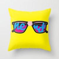 nerd Throw Pillows featuring Nerd by Aaron Synaptyx Fimister
