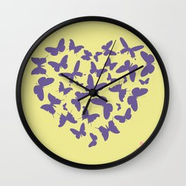 Ultra violet heart shape made from butterfly silhouettes. Wall Clock