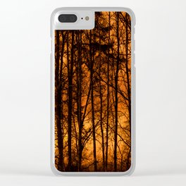 Tree Silhouettes Against The Sunrise Sky - Winter Scene #decor #society6 #homedecor Clear iPhone Case