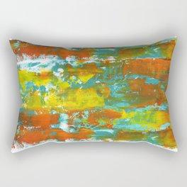 Palette Knife Daubs Orange & Blue Rectangular Pillow