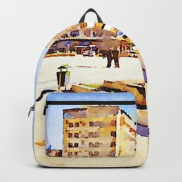Square with fountain of Aleppo Backpack