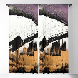 Axis [1]: a bold, minimal abstract in gold, purple, blue, black and white Blackout Curtain