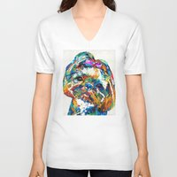shih tzu V-neck T-shirts featuring Colorful Shih Tzu Dog Art By Sharon Cummings by Sharon Cummings