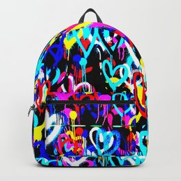 Bright Graffiti Hearts Cool Modern Abstract Love Design Backpack