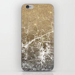 Vintage black white gold glitter marble iPhone Skin
