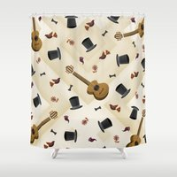 hats Shower Curtains featuring Guitar & Hats by hesor