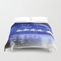 card Duvet Covers featuring CHRISTMAS CARD by mark ashkenazi