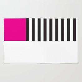 Minimal Triangles Black-White-Magenta Rug