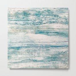 Sea Foam Blue Acrylic Textured Painting Metal Print
