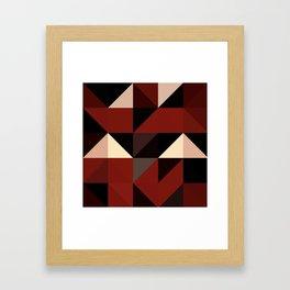 Red Black Block Pattern Abstract Framed Art Print
