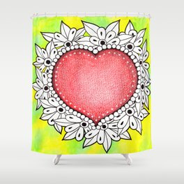 Watercolor Doodle Art | Heart Shower Curtain