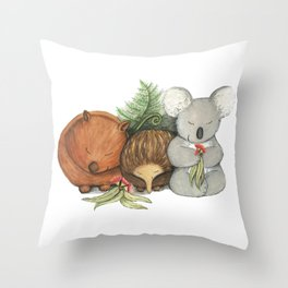 Native Australian Animal Babies – With Koala, Wombat And Echidna Throw Pillow