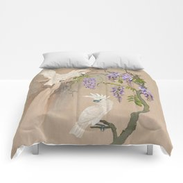Cockatoos and Wisteria Comforters