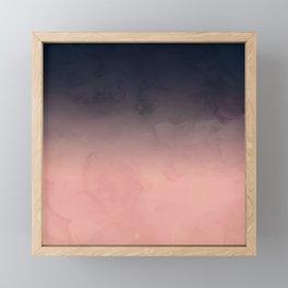 Modern abstract dark navy blue peach watercolor ombre gradient Framed Mini Art Print