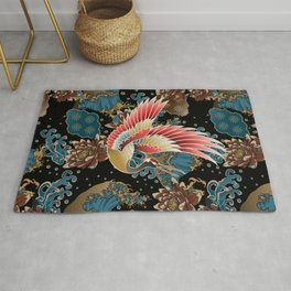 cranes and waves Rug