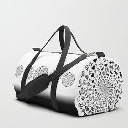 Love Symbol Mandala Black on White Duffle Bag