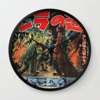 godzilla Wall Clocks featuring Godzilla by Golden Boy