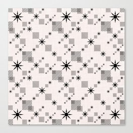 Abstract black pattern on a cream background Canvas Print