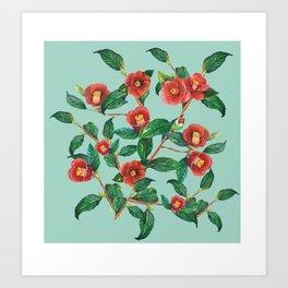 Watercolor red camellia Art Print
