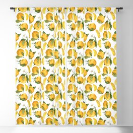 Blooming flowers and juicy citrus fruits with slices Blackout Curtain
