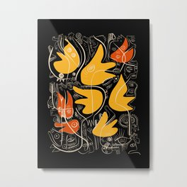 Abstract Floral Graffiti Street Art in Yellow Orange Black and White Metal Print