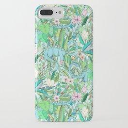 Improbable Botanical with Dinosaurs - soft pastels iPhone Case