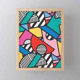 Colorful Memphis Modern Geometric Shapes - Tribal Kente African Aztec Framed Mini Art Print