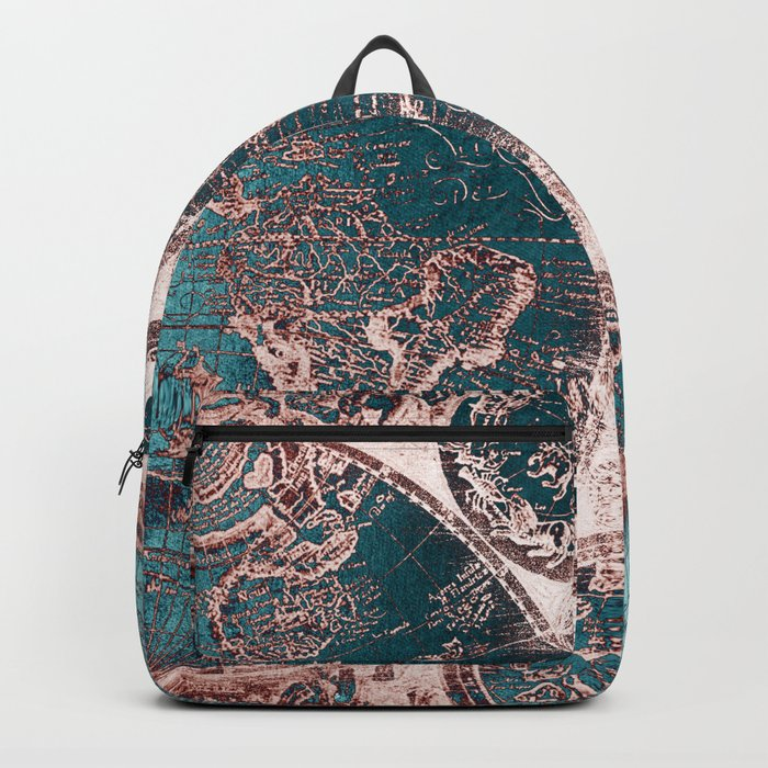 Antique World Map Pink Quartz Teal Blue by Nature Magick Rucksack