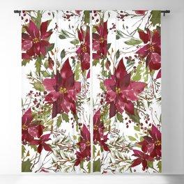 Poinsettia Flowers Blackout Curtain