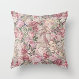 Romantic Flower Pattern And Birdcage Throw Pillow