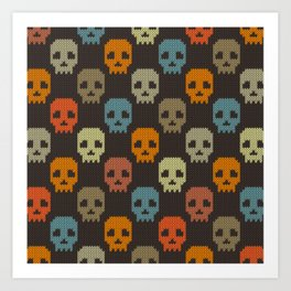 Knitted skull pattern - colorful Art Print