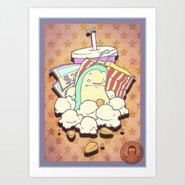 The terrible monster of popcorn! Art Print