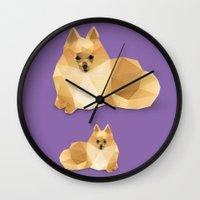 pomeranian Wall Clocks featuring Pomeranian. by Diana D'Achille