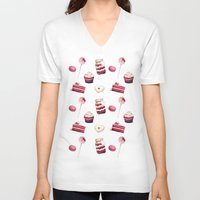 macaroons V-neck T-shirts featuring Everything Red Velvet by Pink Geeks