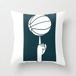 Basketball spinning on a finger Throw Pillow
