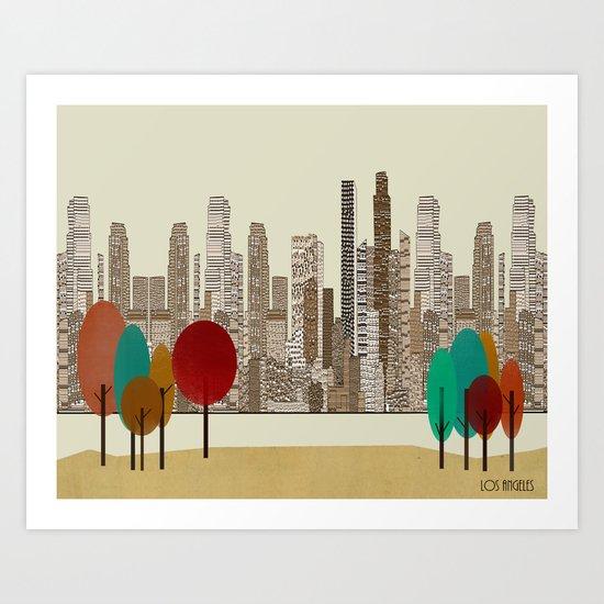 los angeles city Art Print