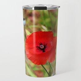 Vivid Red Poppy Travel Mug