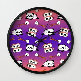 Cute funny Kawaii chibi little playful baby panda bears, happy cheerful sushi with shrimp on top, rice balls and chopsticks purple orange colorful design. Nursery decor. Wall Clock