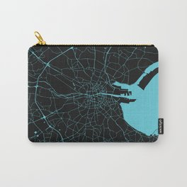 Dublin Ireland Black on Turquoise Street Map Carry-All Pouch