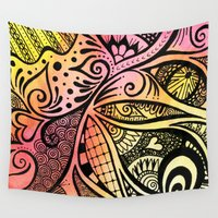 firefly Wall Tapestries featuring Firefly Zentangle by Wealie