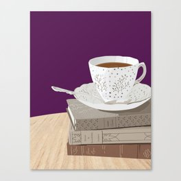 Teacup, Jane Austen, & Charlotte Brontë Books Canvas Print