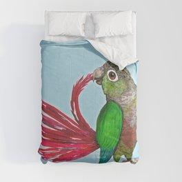 Preening green cheek conure Comforters