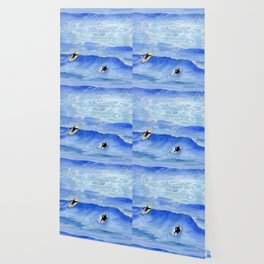 Getting ready to take this wave surf art Wallpaper
