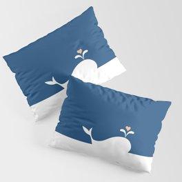 Whale in Blue Ocean with a Love Heart Pillow Sham
