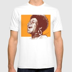 Aretha Franklin White MEDIUM Mens Fitted Tee