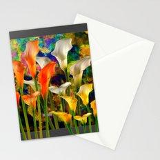 Orange Ivory & Golden Color Calla Lilies Golden Art Stationery Cards